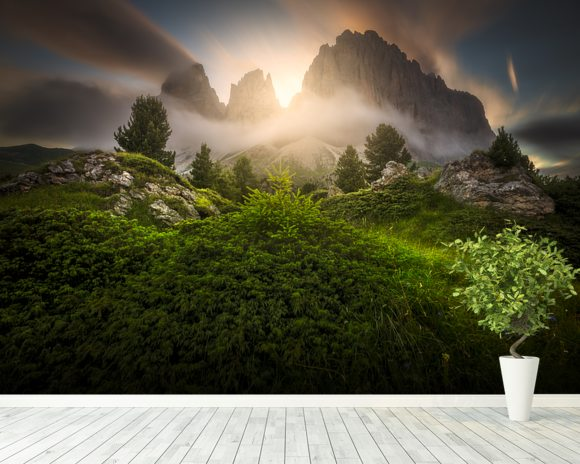 Dolomia Sunset mural wallpaper room setting