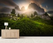 Dolomia Sunset mural wallpaper living room preview