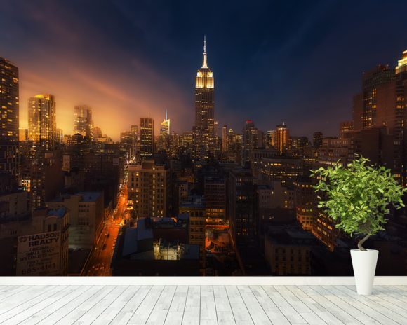 NYC Skyline at Dusk mural wallpaper room setting