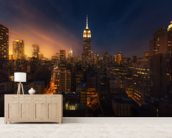 NYC Skyline at Dusk mural wallpaper living room preview