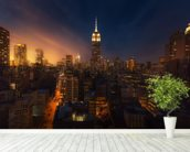 NYC Skyline at Dusk mural wallpaper in-room view