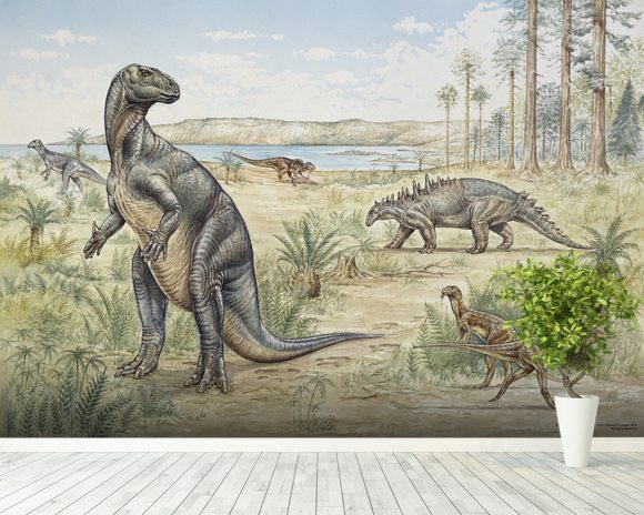 Lower Cretaceous Dinosaurs wall mural room setting