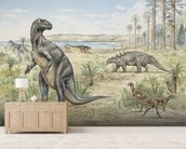 Lower Cretaceous Dinosaurs wall mural living room preview