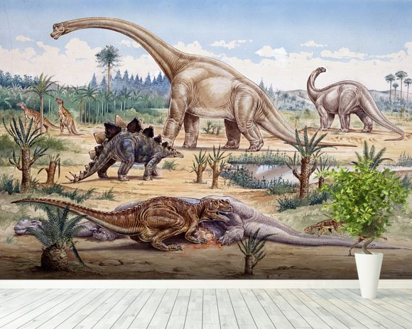 Ceratosaurus Feeding Time mural wallpaper room setting