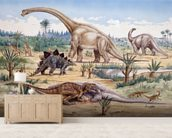 Ceratosaurus Feeding Time mural wallpaper living room preview