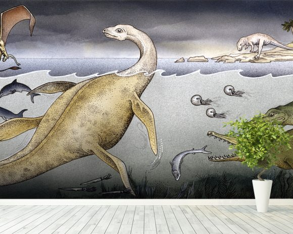 Life on Jurassic Shores wall mural room setting