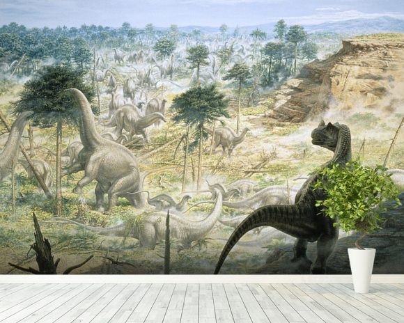 Ceratosaurus and Apatosaurus Herd wallpaper mural room setting