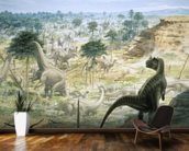Ceratosaurus and Apatosaurus Herd wallpaper mural kitchen preview
