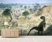 Ceratosaurus and Apatosaurus Herd wallpaper mural living room preview
