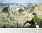 Ceratosaurus and Apatosaurus Herd wallpaper mural in-room view
