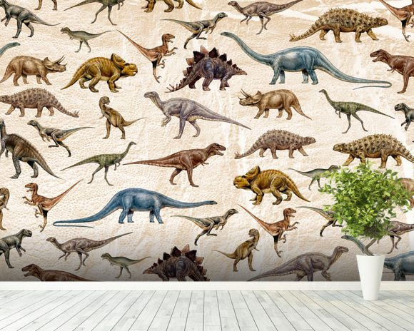 Dinosaurs Pattern wall mural room setting