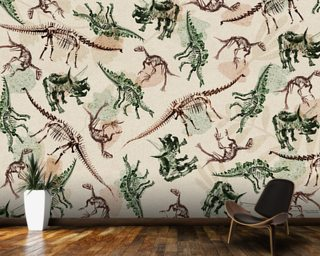 Dinosaur Skeleton Montage wallpaper mural