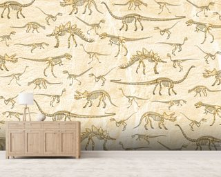 Dino Walking Skeletons mural wallpaper