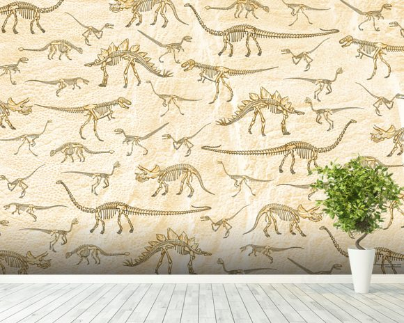 Dino Walking Skeletons mural wallpaper room setting