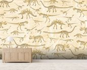 Dino Walking Skeletons mural wallpaper living room preview
