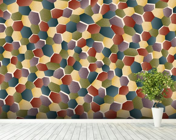 Broken Polygon wall mural room setting