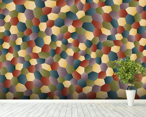 Textured Polygon wallpaper mural room setting