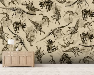 Dinosaur Skeleton Montage (Antique) wallpaper mural