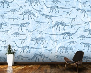 Dino Walking Skeletons wallpaper mural