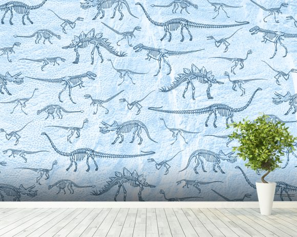 Dino Walking Skeletons wallpaper mural room setting