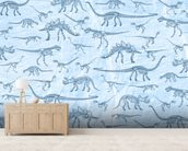 Dino Walking Skeletons wallpaper mural living room preview