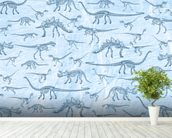 Dino Walking Skeletons wallpaper mural in-room view