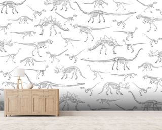 Dino Walking Skeletons (White & Grey) mural wallpaper