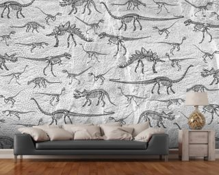 Dino Walking Skeletons (Grey) wall mural