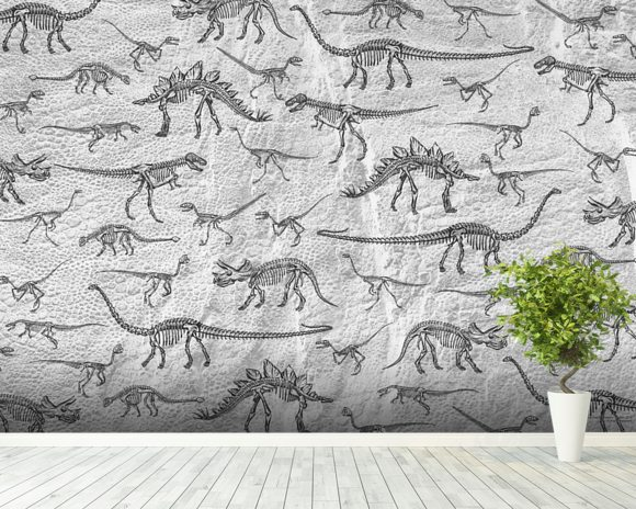 Dinosaur skeleton wallpaper in grey nhm wall murals for Mural history