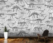 Dino Walking Skeletons (Grey) wall mural kitchen preview