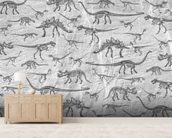 Dino Walking Skeletons (Grey) wall mural living room preview