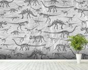 Dino Walking Skeletons (Grey) wall mural in-room view