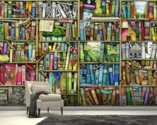 Bookshelf Wallpaper Mural Wall Murals Wallpaper