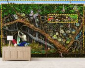 The Hideout mural wallpaper living room preview
