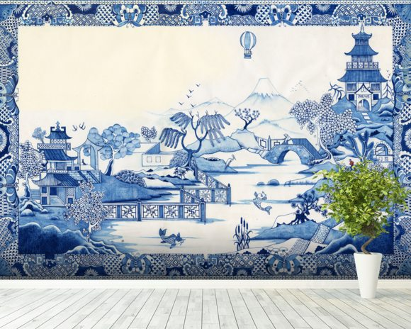 Blue Willow Wallpaper Mural Room Setting