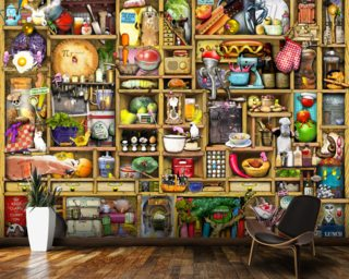 Kitchen Cupboard Wallpaper Wall Murals