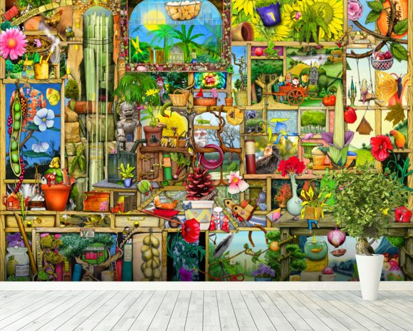 The Garden Cupboard mural wallpaper room setting
