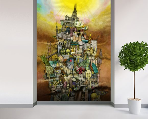 Around The World mural wallpaper room setting