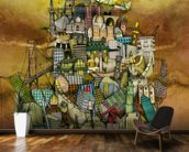 Around The World mural wallpaper kitchen preview