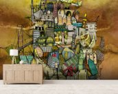 Around The World mural wallpaper living room preview