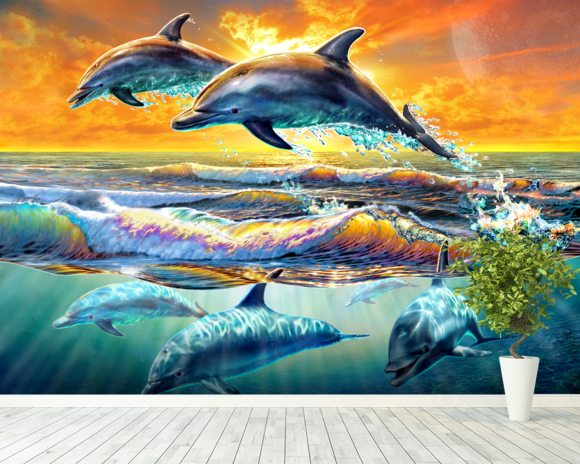Dolphins at Dawn mural wallpaper room setting