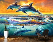 Dolphins at Dawn mural wallpaper kitchen preview