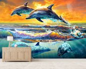 Dolphins at Dawn mural wallpaper living room preview