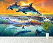 Dolphins at Dawn mural wallpaper in-room view