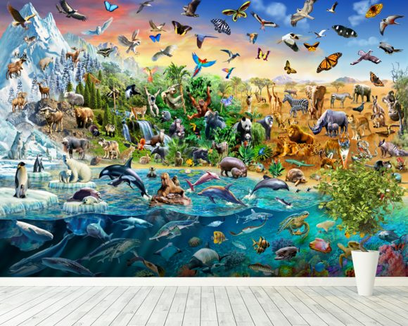 Endangered Species wall mural room setting