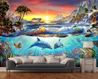 Dolphin wallpaper wall murals wallsauce usa for Dolphin paradise wall mural