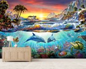 Paradise Bay mural wallpaper living room preview