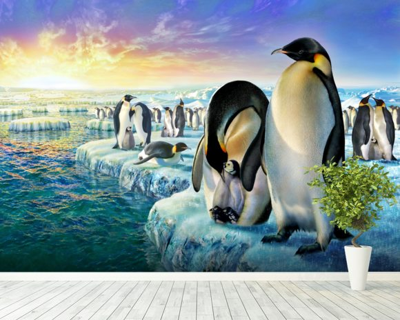 Penguins wall mural room setting