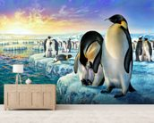 Penguins wall mural living room preview