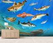 Sea Fish mural wallpaper living room preview